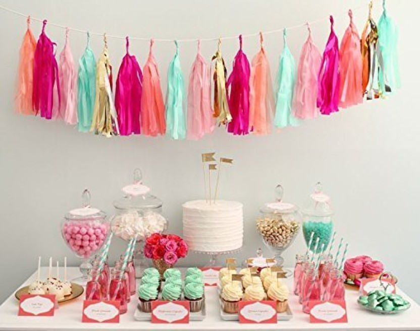 Originals Group 16 X Pink Tissue Paper Tassels for Party Wedding Gold Garland Bunting Pom Pom