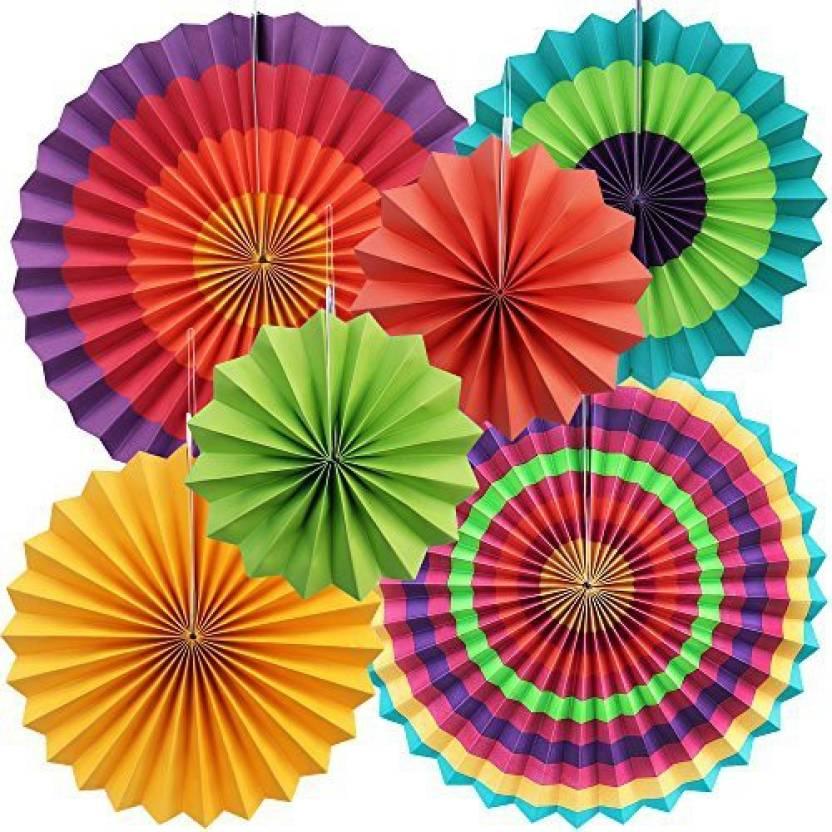 Yotako 6X Round Wheel Tissue Paper Fan Decorations Hanging Rosette Backdrop Medallions Pinwheels For Wedding Party