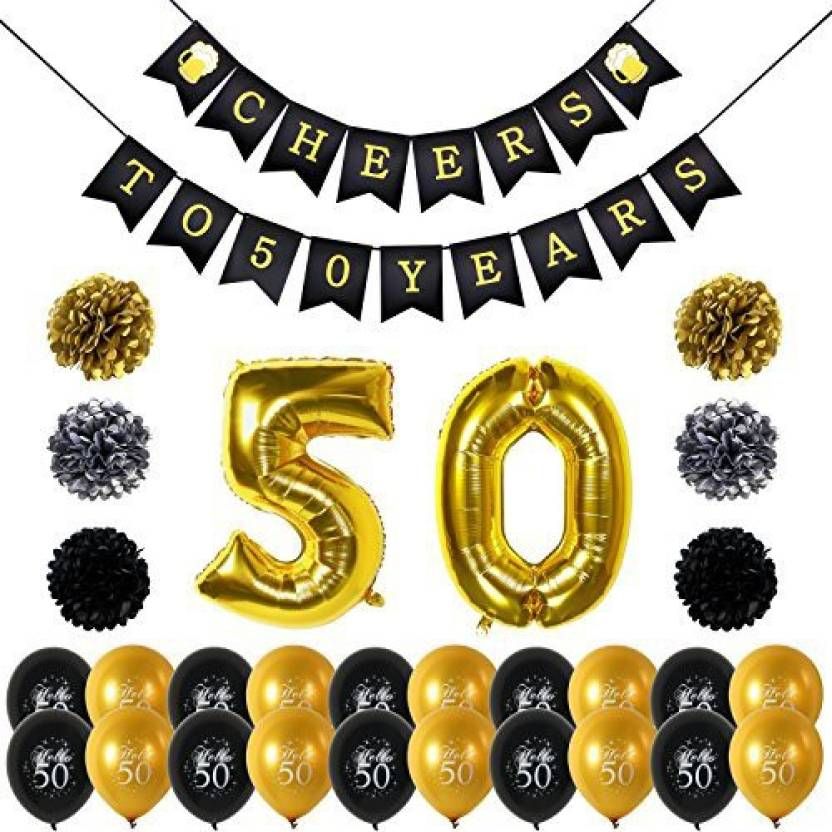 Konsait 50Th Birthday Party Decorations Kit Cheers To Banner Number 50 Years Foil Balloons