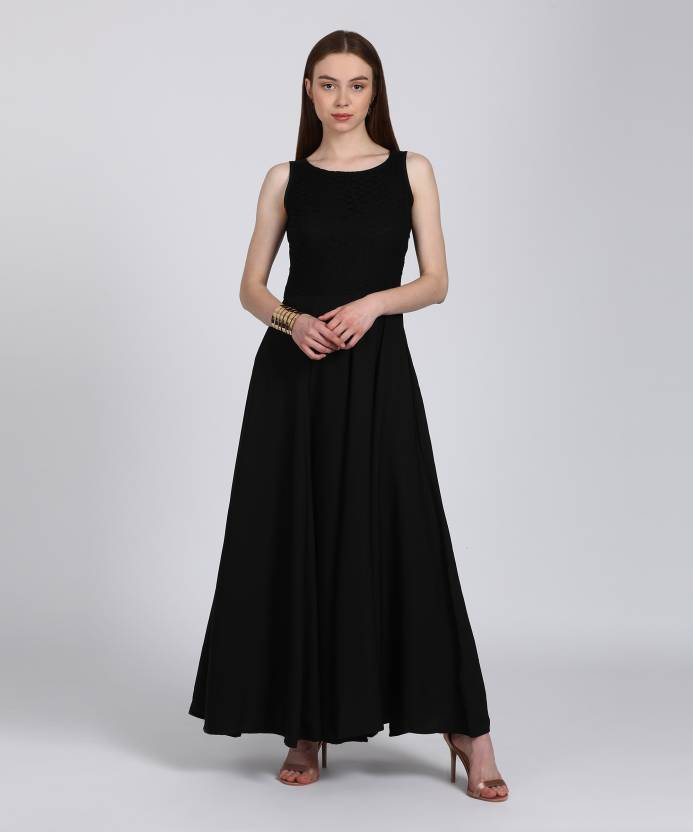 cc8329c683e7 Tokyo Talkies Women's Gown Black Dress - Buy BLACK Tokyo Talkies Women's  Gown Black Dress Online at Best Prices in India | Flipkart.com