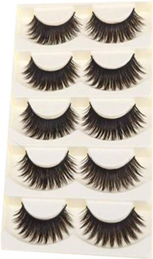 a0059bfc041 LUV-LI IMPORTED Thick Black Taiwan Tips Natural Smoky Makeup Long False  Eyelashes (5 PAIRS) (Pack of 5)