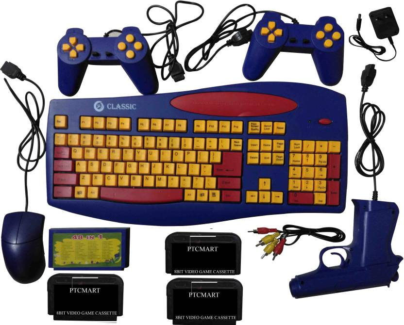 Ptcmart 8 Bit Tv Video Game Na Gb With 48 In 1 Games Like Educational Games Keyboard Typing English Editor