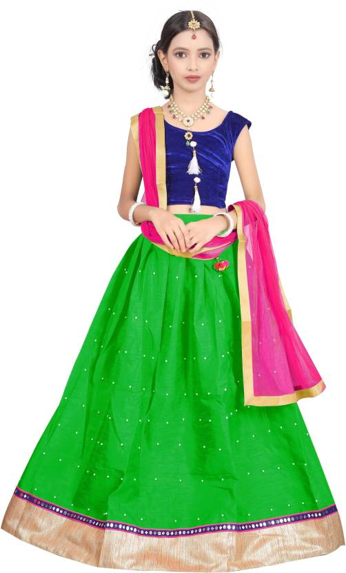 364756b118 kpfashion Girl's Lehenga Choli Ethnic Wear Self Design Lehenga, Choli and  Dupatta Set (Light Green, Pack of 1)