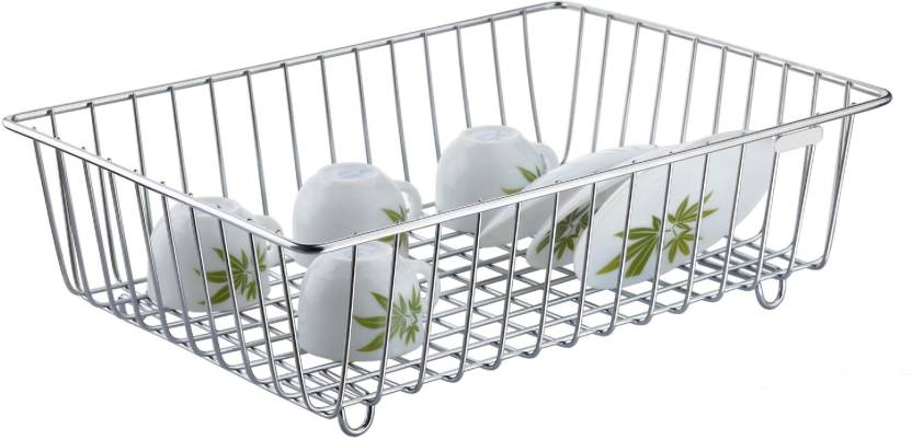 Mantavya High Grade Kitchen Utensils Dish Drainer Drying Rack Plate Stand Stainless Steel