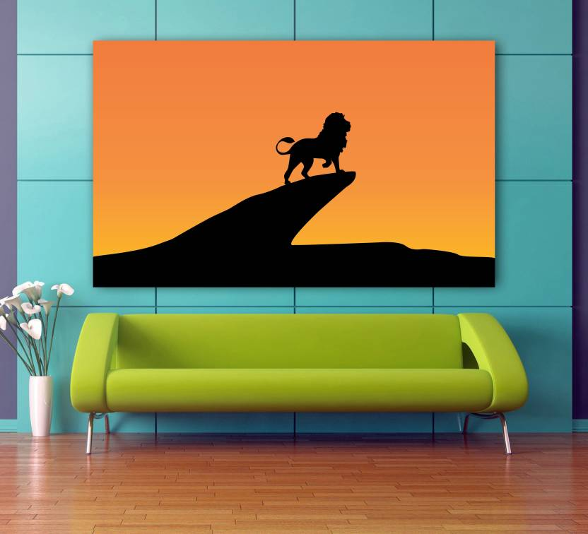 Lion King Silhouette Minimal Wall Decor Poster No Framed Large