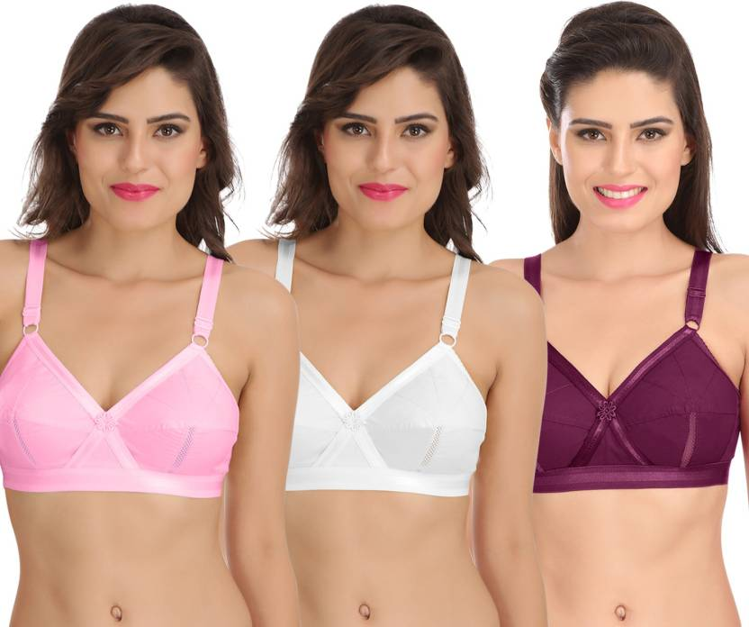 fe630207026 Sona Sona Perfecto Women Full Cup Everyday Plus Size Cotton Bra Pack of 3  Women Full Coverage Non Padded Bra (Pink)