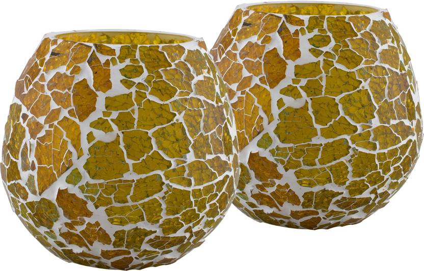 Homesake Moroccan Yellow Glass Crackle Mosaic Candle Holder