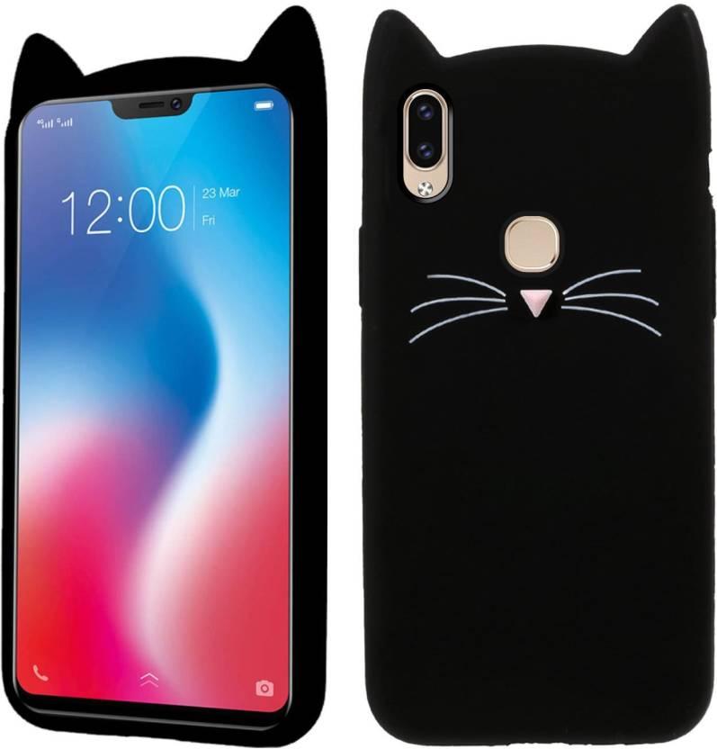 Case Creation Back Cover for Vivo V9 (Cute CAT 3D Black, Shock Proof, Flexible Case)