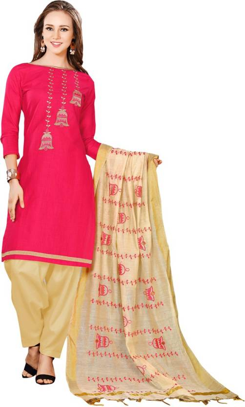 92ef47b342 Peachmode Chanderi Embroidered Suit Fabric Price in India - Buy ...