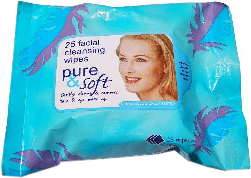 CartKing & Soft FACIAL/FACE TISSUES -Wet-MAKEUP REMOVER-Tissue Paper Face Cleanser/Cleaning Wipes For Women & Girls_Blue (Pack of 25)