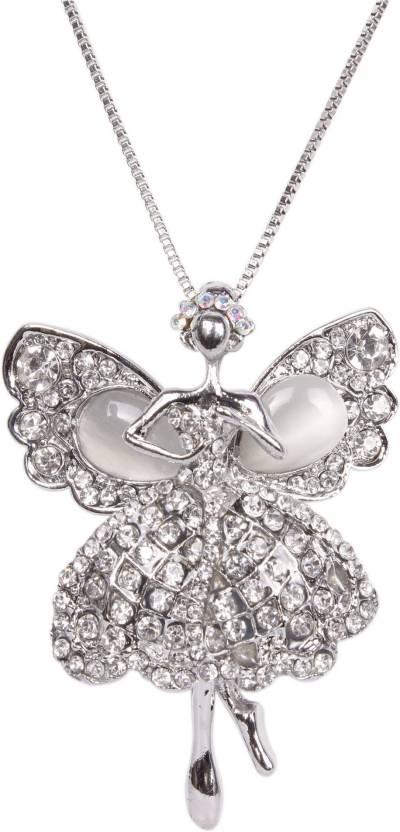 32160f290 Indian Petals Designer Fancy Stylish Swarovski-like Diamonds Rhinestone  studded Angel Design Fashion Jewellery Pendent