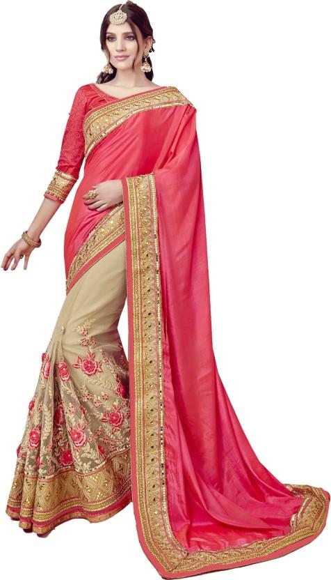 Bollywood Red Chiffon Saree Party Wear Indian Designer Sari