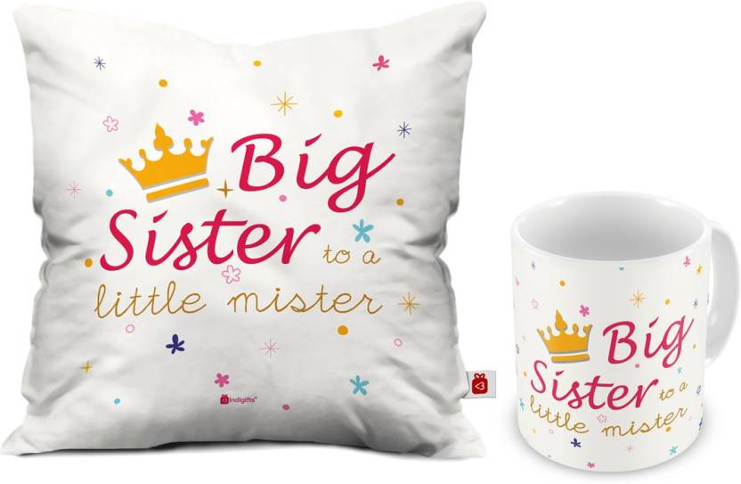 Indigifts Rakhi Gift Gifts For Sister Birthday Raksha Bandhan Marriage IDSCOMAF165 Cushion Mug Set Price In