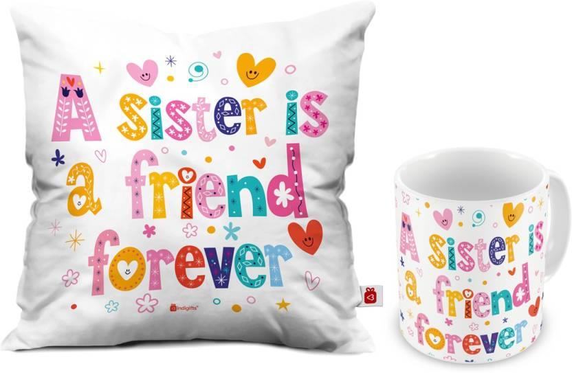 Indigifts Rakhi Gift Gifts For Sister Birthday Raksha Bandhan Marriage IDSCOMAF147 Cushion Mug Set Price In