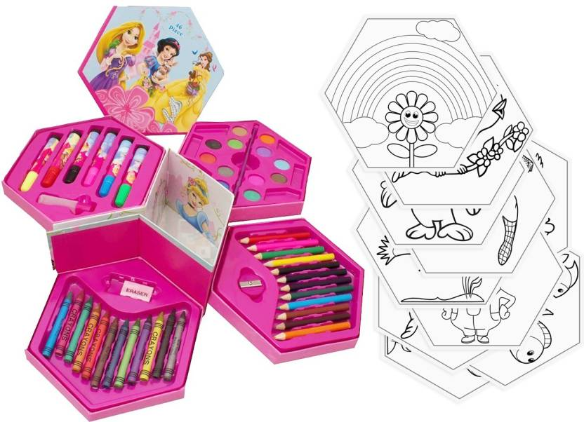 Kit4Curious Colors Box with Color Pencil, Water Color, Crayons, Sketch Pens  (Set Of 46 Pieces) with 10 Coloring sheets Best Return Gift, Birthday Gift  ...