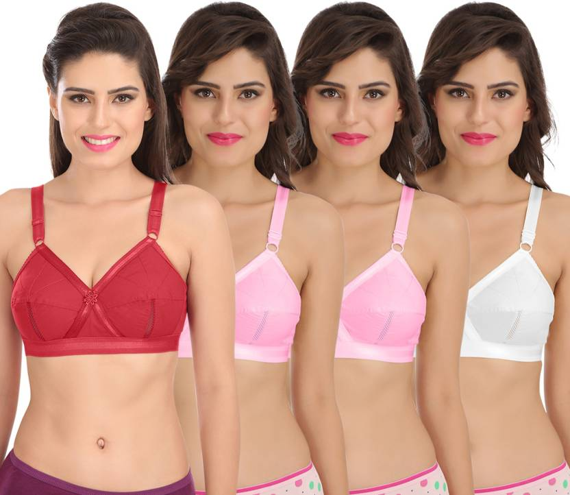6a00c5912fe Sona Sona Perfecto Women Full Cup Everyday Plus Size Cotton Bra Pack of 4  Women Full