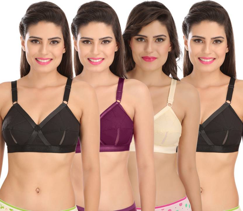 70d998f4145 Sona Sona Perfecto Women Full Cup Everyday Plus Size Cotton Bra Pack of 4  Women Full Coverage Non Padded Bra (Multicolor)