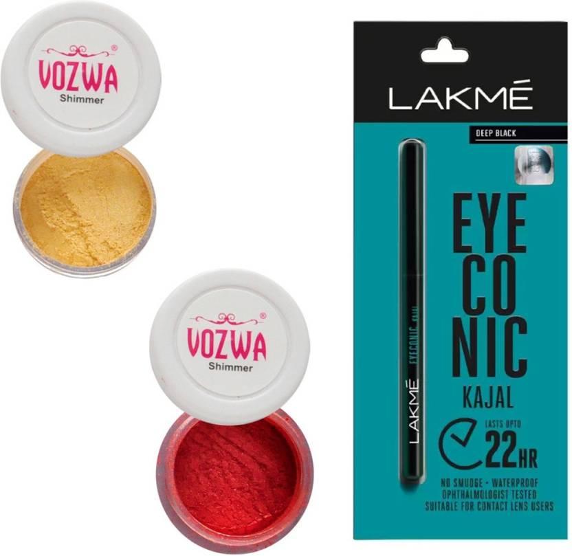 f7e5be13ab3 Vozwa Golden   Maroon Eyeshadow Shimmer Powder and Lakme Eyeconic Kajal  Pencil (Set of 3)