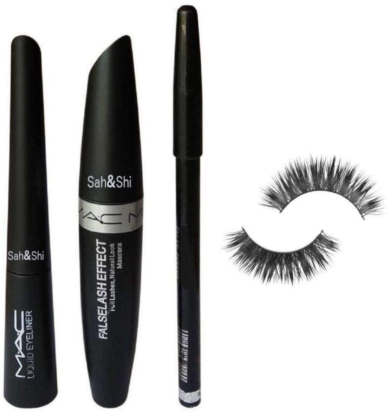 60f346ca341 Sah&Shi Soft Natural Black Eyelashes, Eyebrow Pencil Black with Mascara and  Liquid Eyeliner (3in1) (Set of 4)