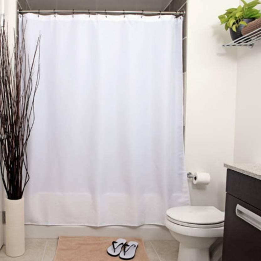 DRAPERI 290 Cm 10 Ft PVC Shower Curtain Single Plain White