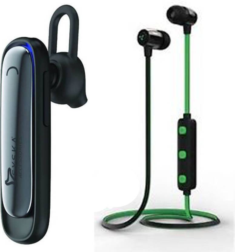 d2669a46635 Syska h20 bluetooth and h15 bluetooth combo Bluetooth Headset with Mic ( Black, black & green, In the Ear)