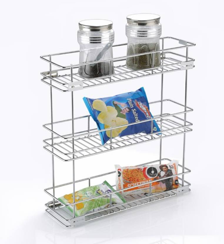 KEEPWELL Pull Out Drawers | 3 Shelf Kitchen Rack | Modular Kitchen Drawer|  Multipurpose Utensils Container Shelf | Kitchen Trolley | Kitchen cabinet  ...
