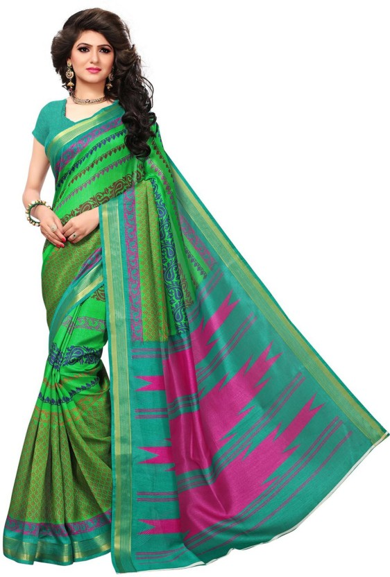 Muhenera Womens Bhagalpuri Silk Saree with Blouse Piece