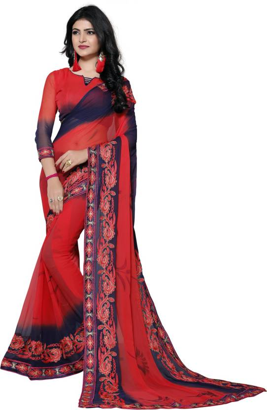 b813e75fa5627 Buy Pratham Blue Self Design Bollywood Georgette Red Sarees Online ...
