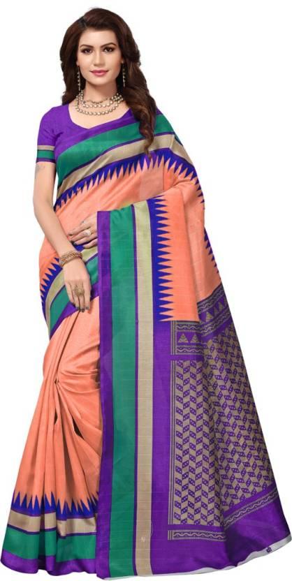 0c7eccb3a Buy V J Fashion Printed Bhagalpuri Art Silk Orange Sarees Online ...