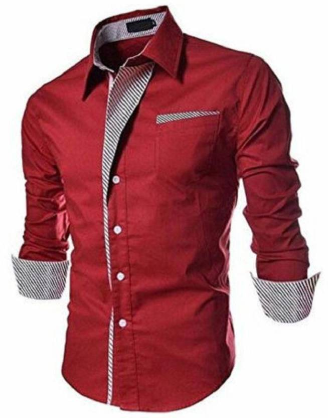184ab6ef473 Qlonz store Men Solid Casual Red Shirt - Buy Qlonz store Men Solid Casual  Red Shirt Online at Best Prices in India
