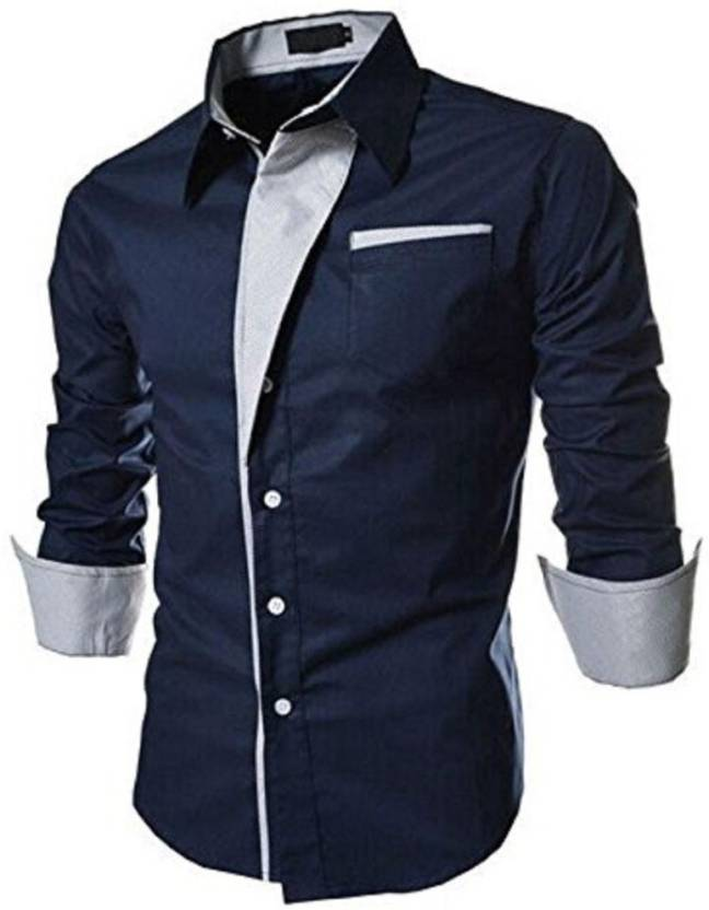 64bb4f6e1e8 Qlonz store Men Solid Casual Blue Shirt - Buy Qlonz store Men Solid Casual  Blue Shirt Online at Best Prices in India