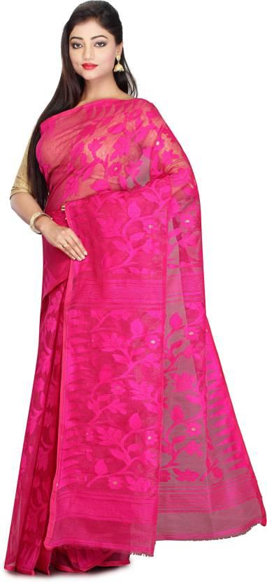 ffbcfb9a373 Buy Laavi Fashion Self Design Jamdani Cotton Pink Sarees Online ...
