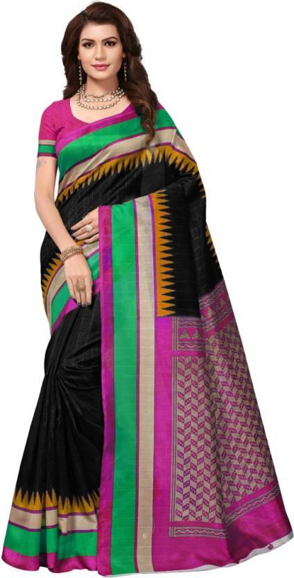 aaae30c30 Buy V J Fashion Checkered Bhagalpuri Art Silk Black Sarees Online ...