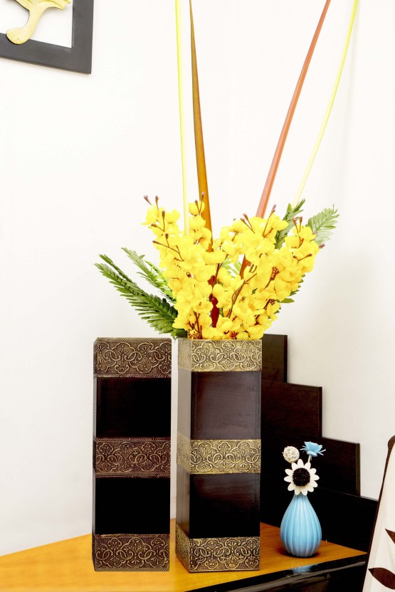 Cocovey Long Rectangle Wooden Flower Vase-Set of 2 Wooden Vase (16 inch Brown)  sc 1 st  Flipkart & Cocovey Long Rectangle Wooden Flower Vase-Set of 2 Wooden Vase Price ...
