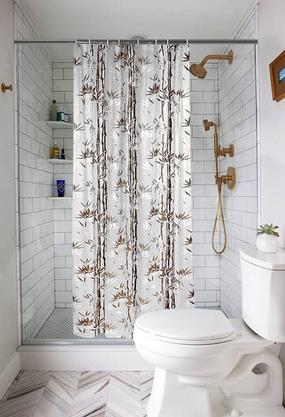 E Retailer 21336 Cm 7 Ft PVC Shower Curtain Single Printed Brown