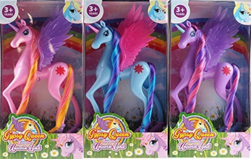Generic Blue Whale Gifts Set of 3 Girls Unicorn - Blue Pink