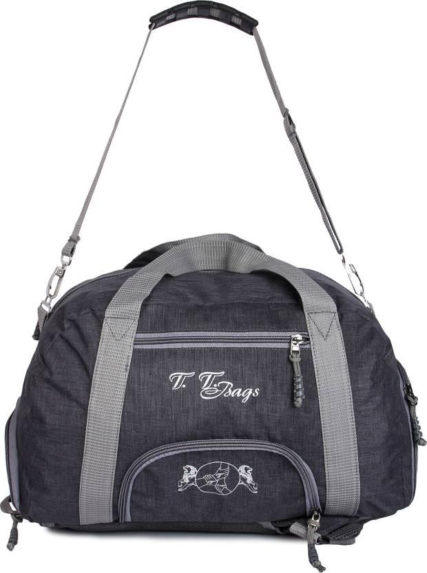 2bb2ed49d79 TT Bags (Expandable) Casual Khadi Duffel Bag for Travelling with Rain Cover Travel  Duffel Bag (Black)
