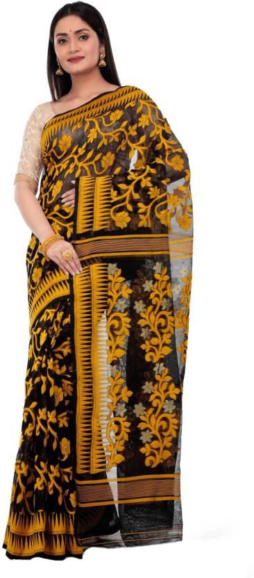 30c6f2d57ad Buy Avik Creations Printed Jamdani Silk, Cotton, Muslin Yellow ...
