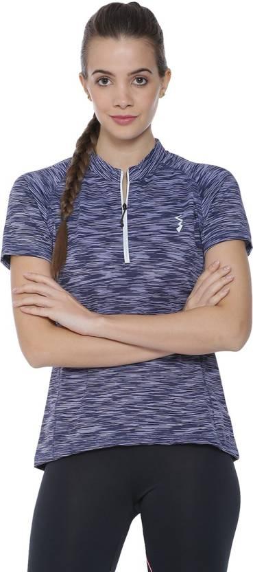 78cbc1bf4d3 Campus Sutra Striped Women's Mandarin Collar Blue T-Shirt