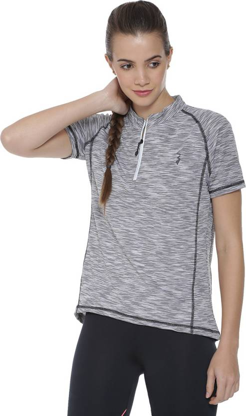 1d55404071d Campus Sutra Striped Women's Mandarin Collar Grey T-Shirt - Buy ...