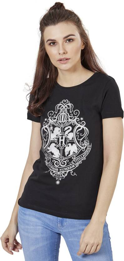 7c077d712 Harry Potter Graphic Print Women's Round Neck Black T-Shirt - Buy ...