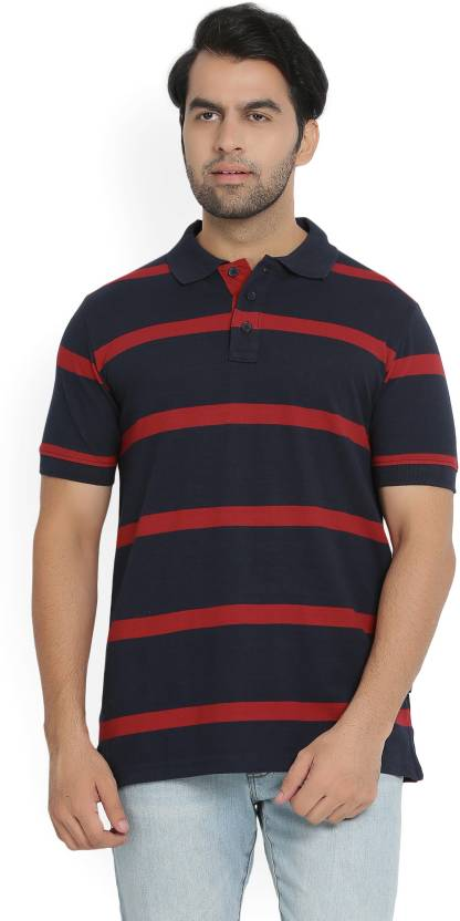 09f4987387 Hanes Striped Men's Polo Neck Dark Blue T-Shirt - Buy NAVY/RED Hanes  Striped Men's Polo Neck Dark Blue T-Shirt Online at Best Prices in India |  Flipkart.com