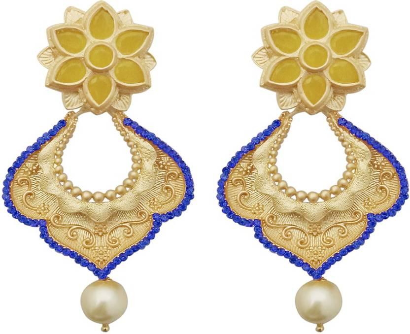 a18d6ccf1 JewelMaze Blue Austrian Stone Pearl Drop Gold Plated Dangler Earrings-1313117A  Alloy Drops & Danglers. Home · Jewellery