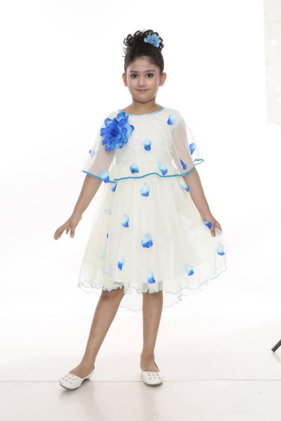 Yayavar Off White Sky Blue Color S Midi Knee Length Party Dress