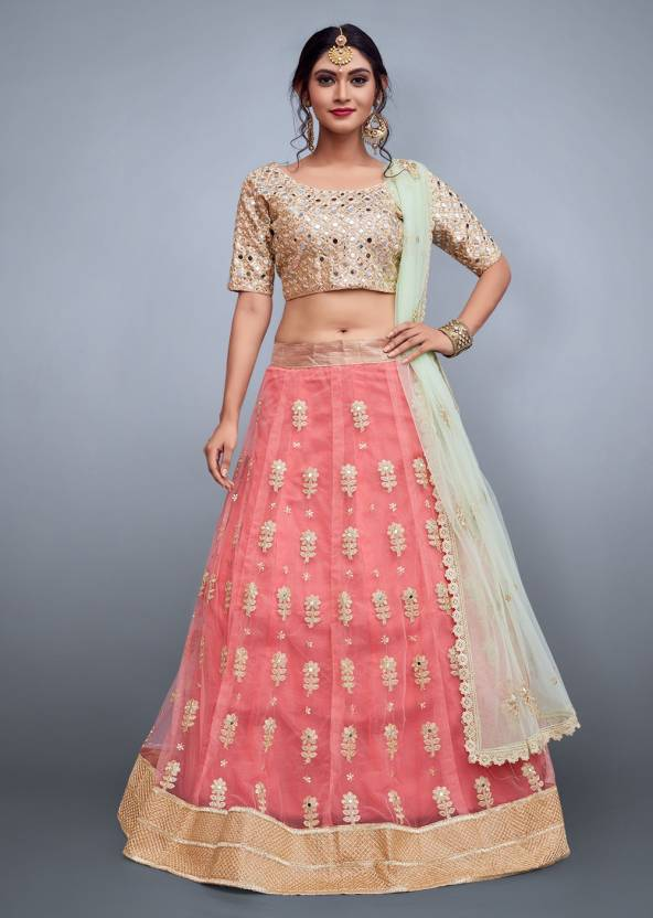 8ed356a7b0 Rozy Fashion Embroidered Semi Stitched Lehenga, Choli and Dupatta Set (Pink)