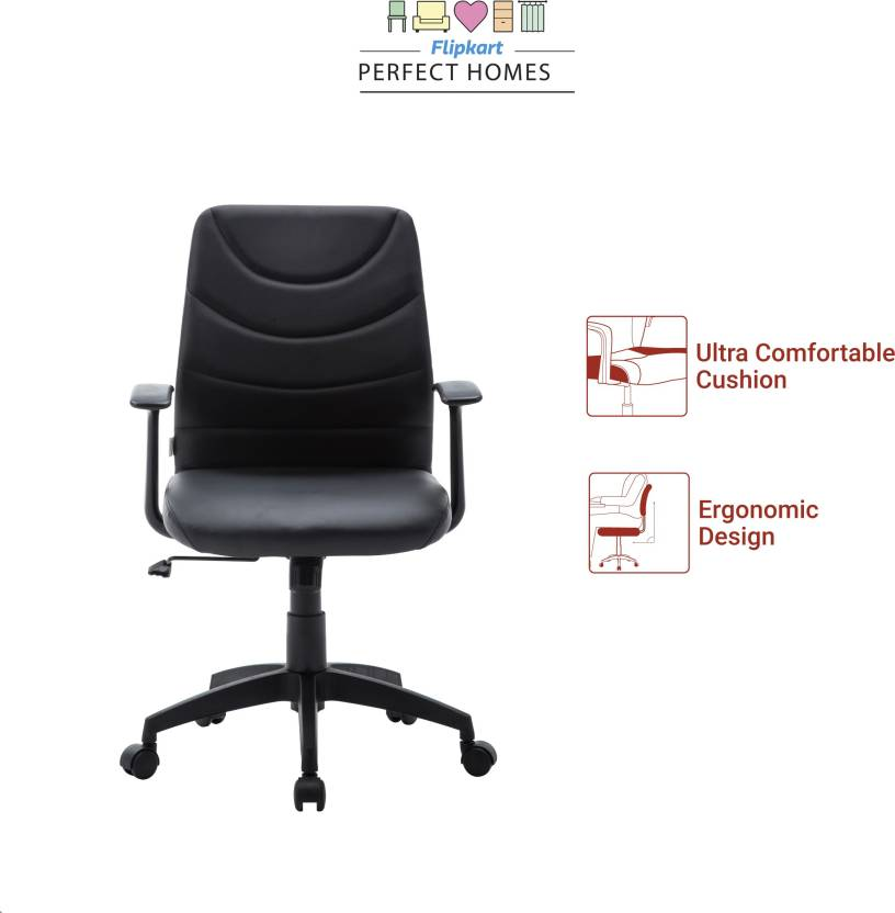 Flipkart Perfect Homes Warren Leatherette Office Arm Chair  (Black) at ₹3,999