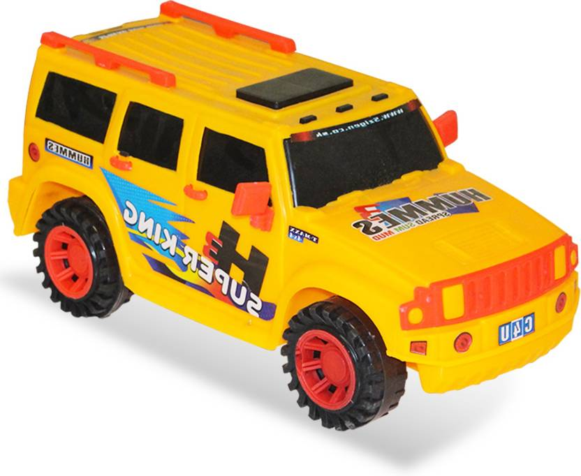 M Max Yellow Super Hummer Car Pull Back Action Toy For Kids Yellow