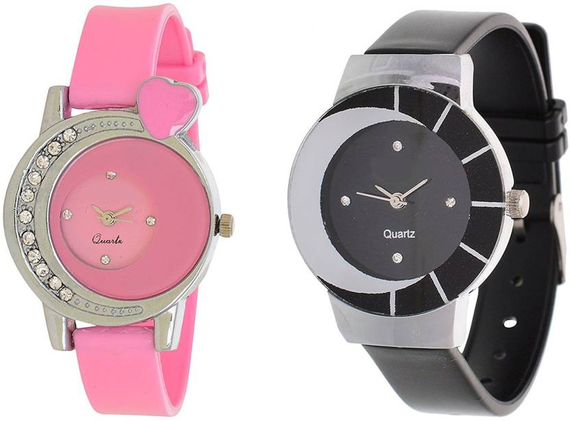 09280cb995c ReniSales Stylish Pink Black Dial Multicolor Latest Combo Watch For Women  And Girls Watch - For Girls - Buy ReniSales Stylish Pink Black Dial  Multicolor ...
