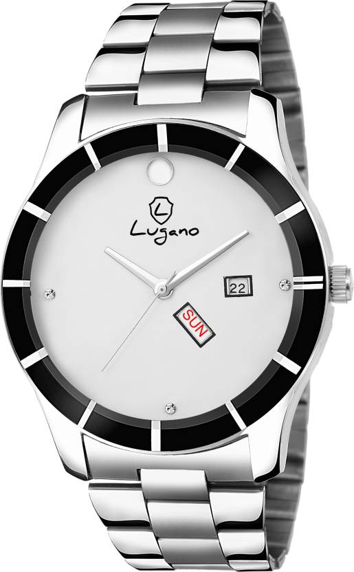 a834dda6196 Lugano G 1174 Smart White Movado Dial With Clear Demonstration of Day   Date  Watch - For Men - Buy Lugano G 1174 Smart White Movado Dial With Clear ...