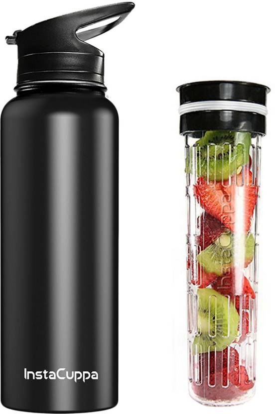InstaCuppa Thermosteel Bottle / Thermos Flask with Fruit Infuser & 2 Lids -  Vacuum Insulated Double Walled Stainless Steel - Free Weight Loss & Detox